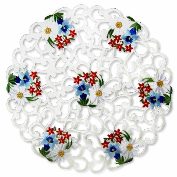 Deckeli Alpenblumen rund, bestickt