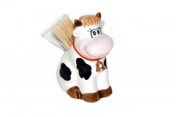 Kuh mit Zahnstochern