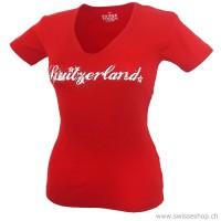 Damen T-Shirt Switzerland-Edelweiss, rot