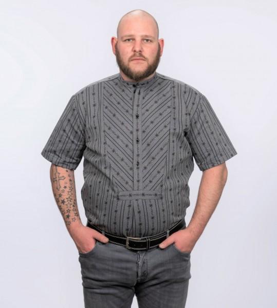 Herren Edelweiss-Hemd, kurzarm mit Stehkragen SB, anthrazit