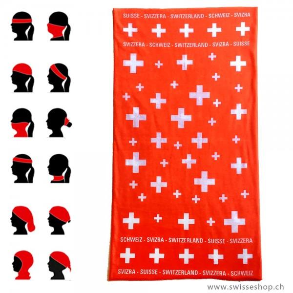 Bandana Schlauchtuch Schweizerkreuz, rot