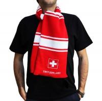 Winterschal rot und weiss mit Schweizerkreuz