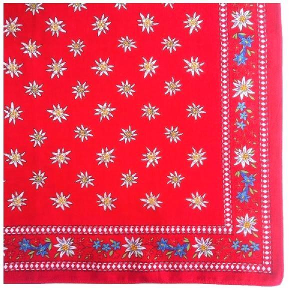 Nickituch Edelweiss Enzian, 55 x 55 cm, 100 % Baumwolle