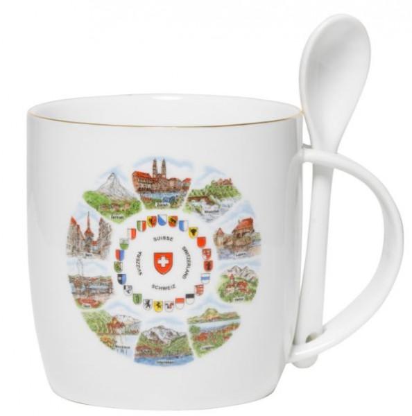 Löffeltasse Schweizer Motiven, Porzellan, 0.3 l