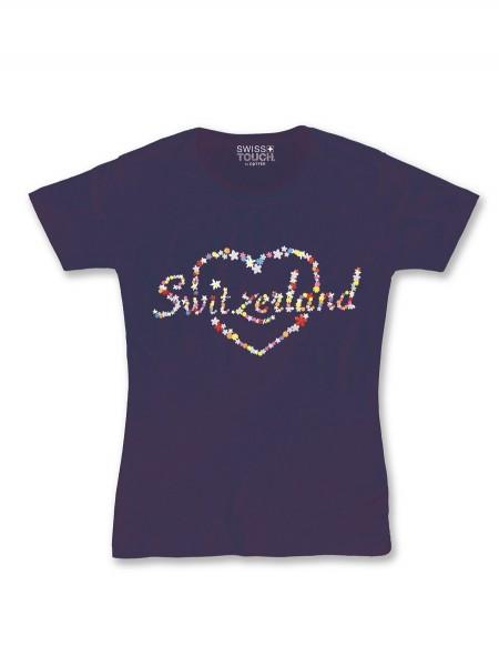 Damen T-Shirt Switzerland Herz, dunkelblau