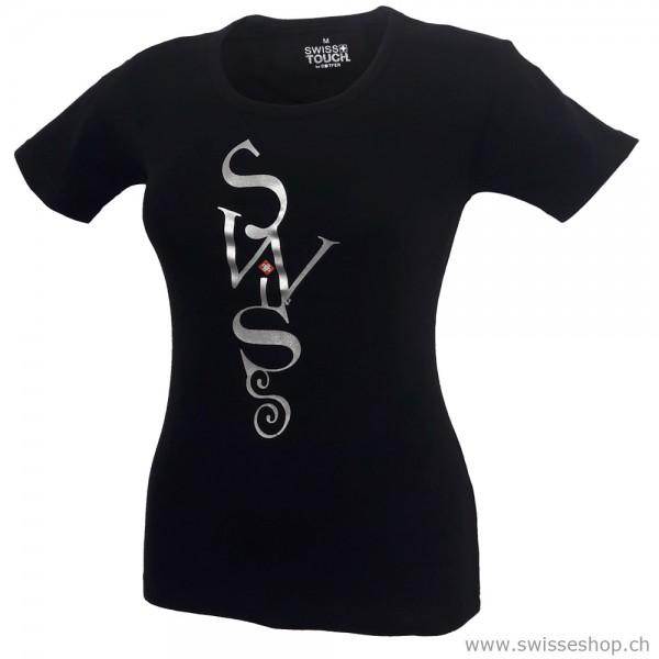 Damen T-Shirt Swiss, schwarz