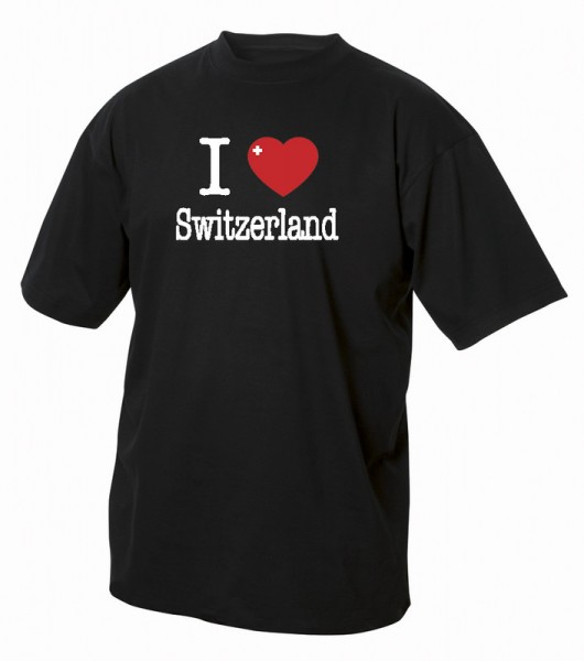 "T-Shirt ""I Love Switzerland"", schwarz"