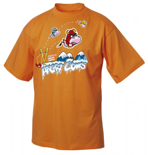 Kinder T-Shirt Angry cows, orange