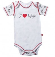 "Baby-Body ""I Love Lutte"", kurzarm, weiss"