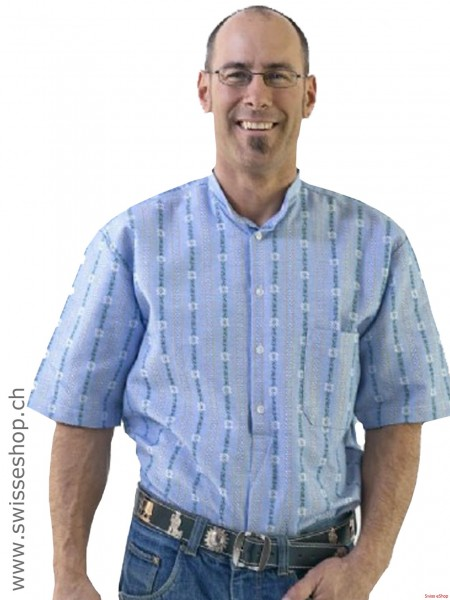 Herren Edelweiss Sommer-Hemd, Kurzarm mit Stehkragen PO