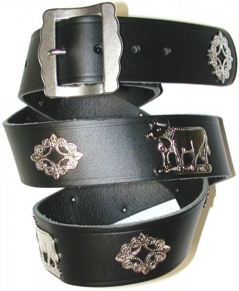 Appenzeller Gürtel, das Original, Leder schwarz, 4cm breit, silber