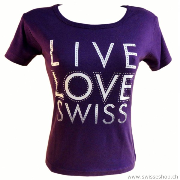 T-Shirt LIVE LOVE SWISS violett