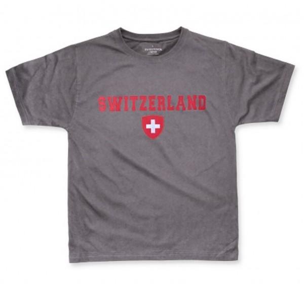 Herren T-Shirt Switzerland Schweizerwappen anthrazit