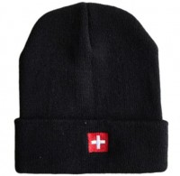 Wintermütze Switzerland CH-Kreuz, schwarz