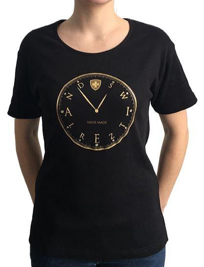 Damen T-Shirt Switzerland Watch, schwarz