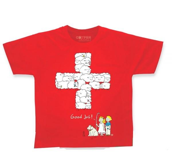 Kinder T-Shirt Schweizerkreuz Schaf Good Job
