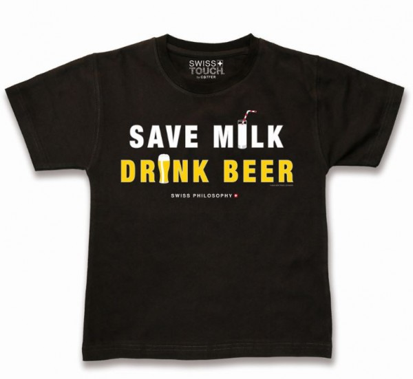 T-Shirt SAVE MILK DRINK BEER, schwarz