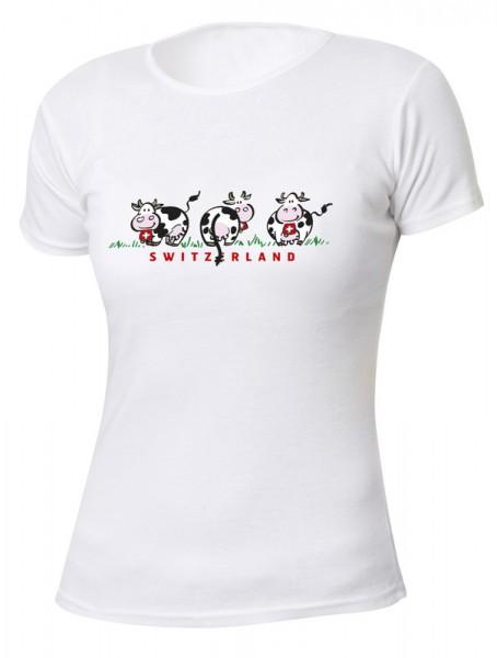 T-Shirt 3 Swiss Cows, weiss