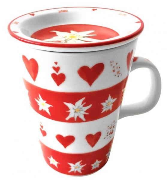 Tasse mit Deckel, Herzen und Edelweiss