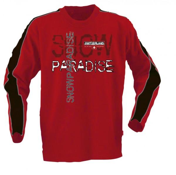 T-Shirt Langarm Snow paradise, rot/schwarz