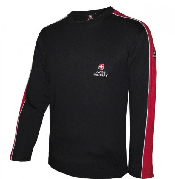 T-Shirt Langarm Emdroidery, schwarz/rot