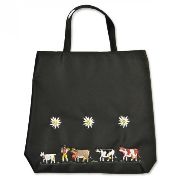 Einkaufstasche Edelweiss Alpaufzug, schwarz