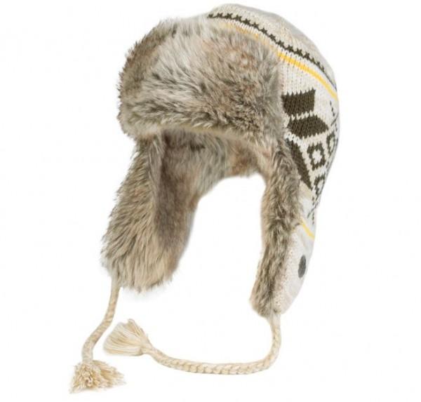 Gestrickte Wintermütze mit Fell, beige/braun/gelb