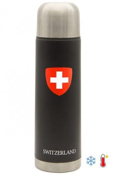 Thermosflasche Schweizerkreuz, schwarz 500ml