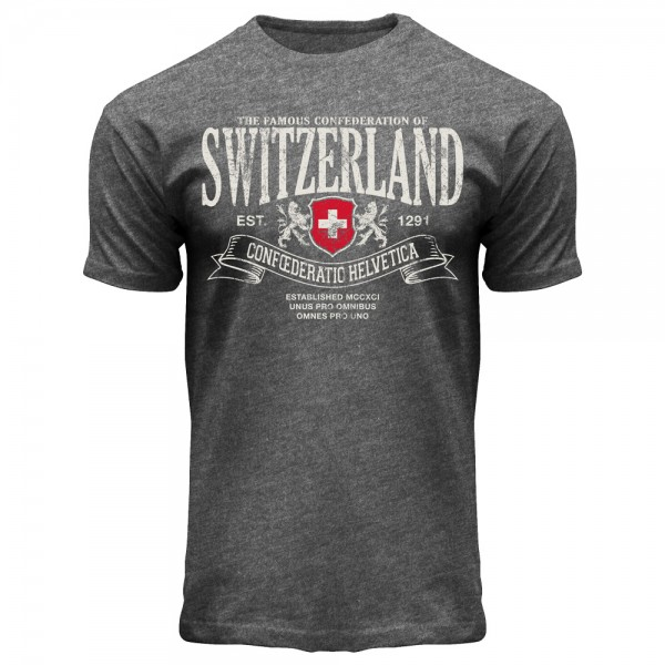 Herren T-Shirt Switzerland Confoederatio Helvetica, anthrazit