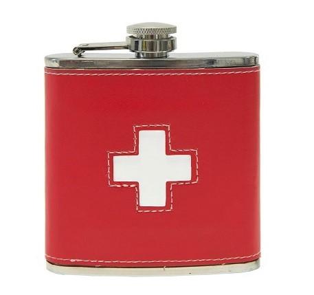 Flachmann Schweizer Kreuz, rot