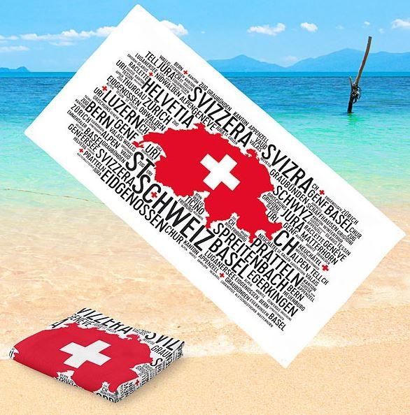 """Badetuch """"Wortwolke Schweiz"""", Mikrofaser"""
