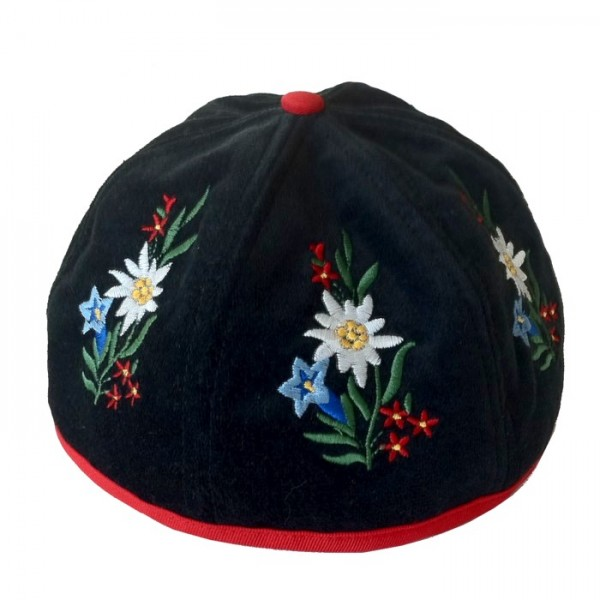 Sennenhut mit bestickten Alpenblumen, schwarz