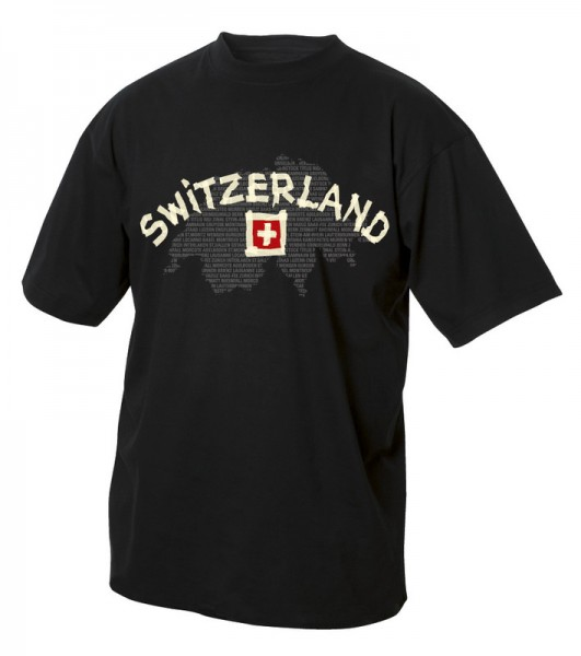 T-Shirt Switzerland, schwarz