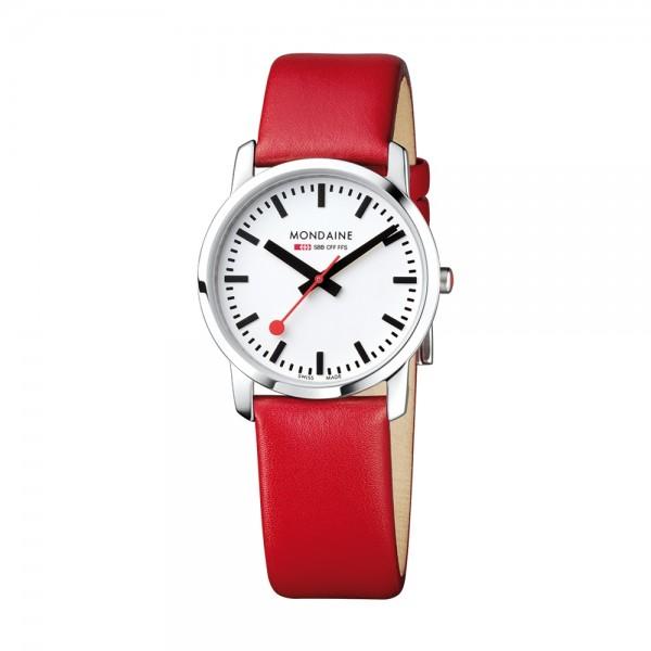 Mondaine SBB Armbanduhr SIMPLY ELEGANT, 36mm, rot