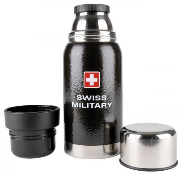Schwarze Thermosflasche Swiss Military mit Schweizerkreuz, 0.5 l