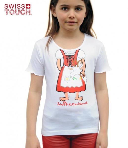 Mädchen T-Shirt Heidi's Kleid, tailliert, weiss