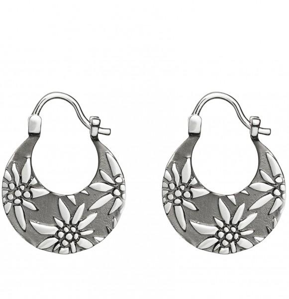 Ohrhänger Edelweiss 925 Silber, schwarz rhodium