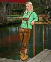 Damen Lederhose lang, dunkelbraun S