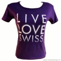 T-Shirt LIVE LOVE SWISS violett