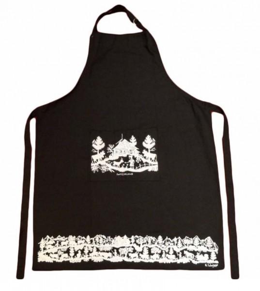Küchenschürze Scherenschnitt schwarz