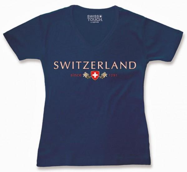 Damen T-Shirt Switzerland Schweizerwappen, dunkelblau