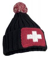 Wintermütze CH-Kreuz mit Pompon schwarz