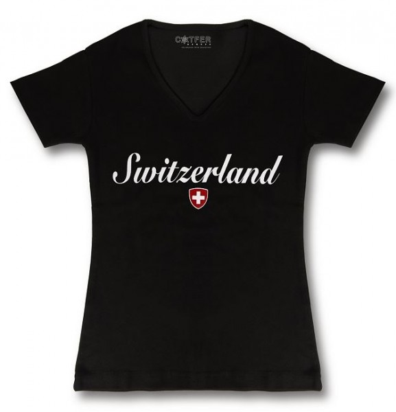 Damen T-Shirt Switzerland, schwarz