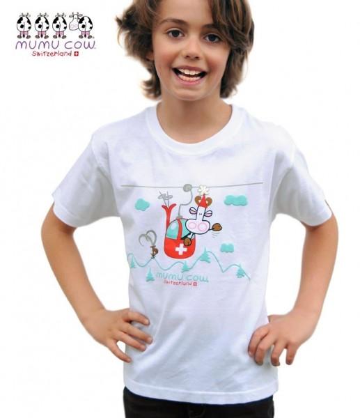 T-Shirt Mumucow Seilbahn, weiss