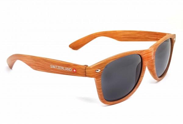 Sonnenbrille Classic Switzerland Holzeffekt