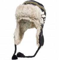 Gestrickte Wintermütze mit Fell, schwarz/beige/gelb