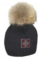 Wintermütze CH-Kreuz Kristall, schwarz