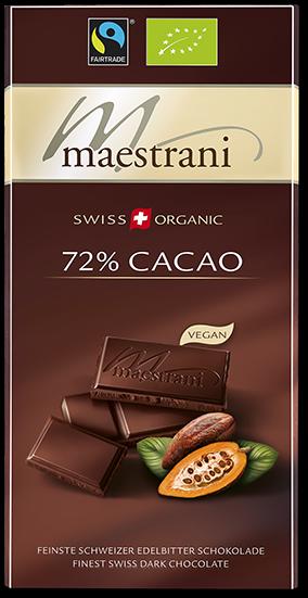 Swiss Organic Tafelschokolade CACAO 72 %, 80g