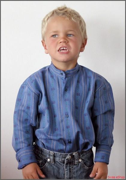 Kinder Edelweiss-Hemd ohne Kragen langarm Adb