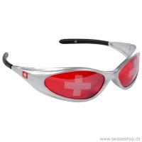 Fan Sonnenbrille Schweiz, rot/grau